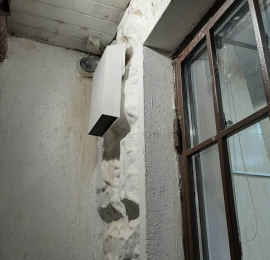 Монтаж внешнего теплообменника для VAKIO LUMI в панельном доме при толщине стены менее 40 см