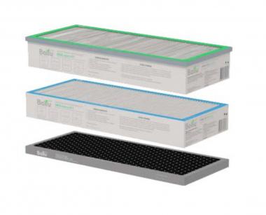 Комплект из трёх фильтров для Ballu Air Master BMAC-200: Пылевой фильтр класса F5, ХЕПА фильтр класса H11, Адсорбционно-каталитический (угольный) фильтр CARBON.